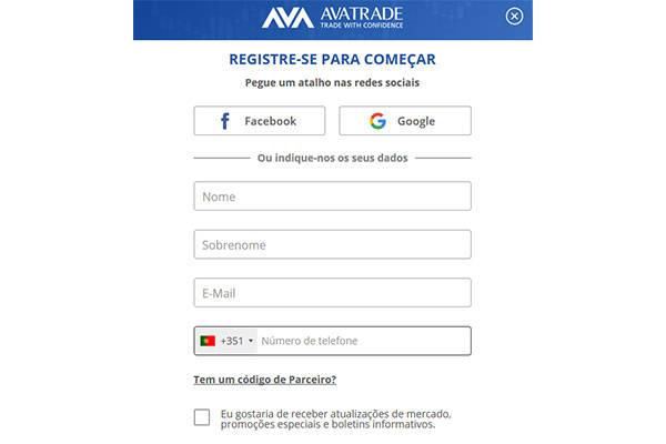 Avatrade registre-se