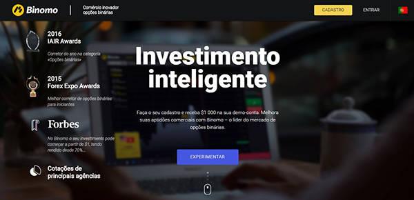 Plataforma comercial da corretora Binomo