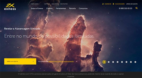 Exness Brazil main page