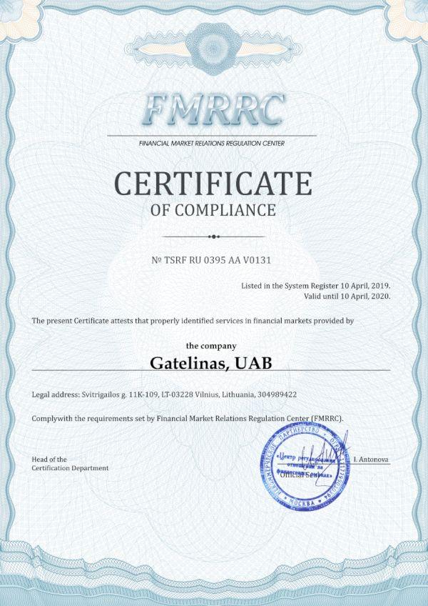FinmaxFX certificate